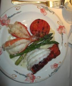 Lobster tail and prawns